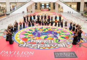 "Limkokwing students wow shoppers at Pavilion with stunning Deepavali ""Unity Kolam"""