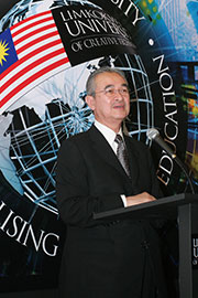 Tun Abdullah giving his speech during the opening of Limkokwing London.